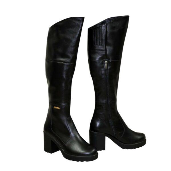 Женские демисезонные ботфорты на устойчивом каблуке, из натуральной кожи