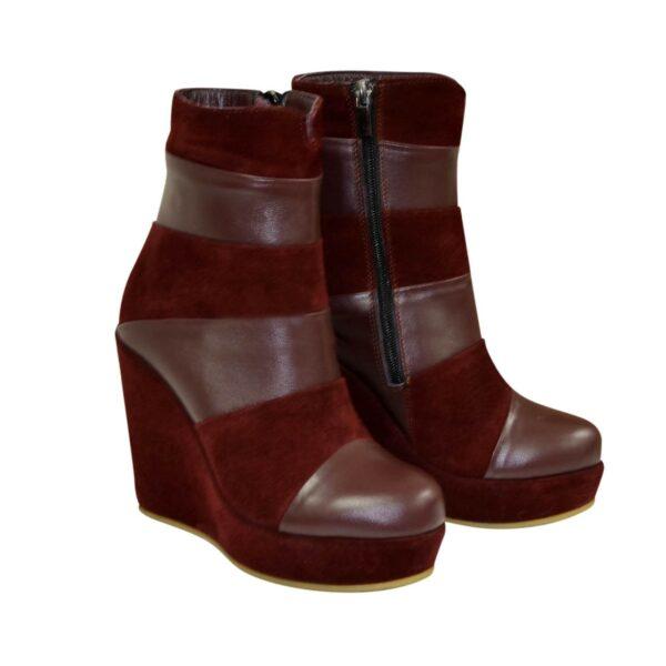 Ботинки зимние комбинированные на высокой платформе, цвет бордо