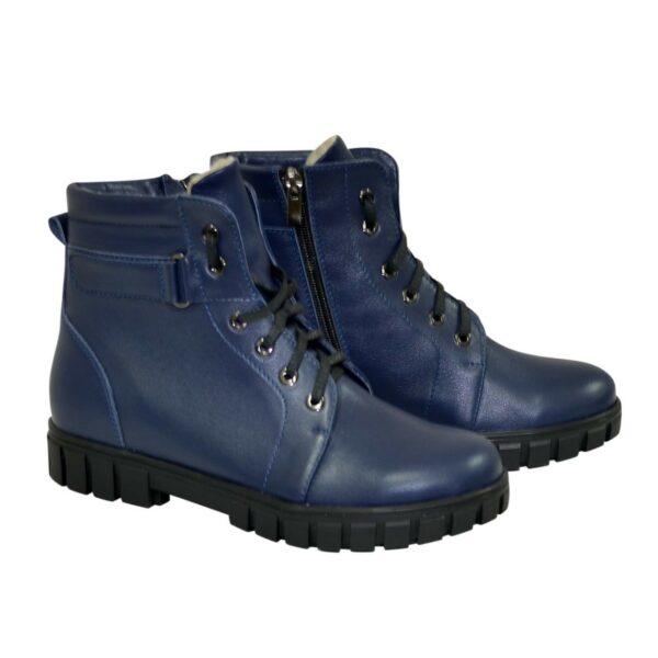 Ботинки кожаные для мальчиков подростковые на утолщённой подошве, цвет синий