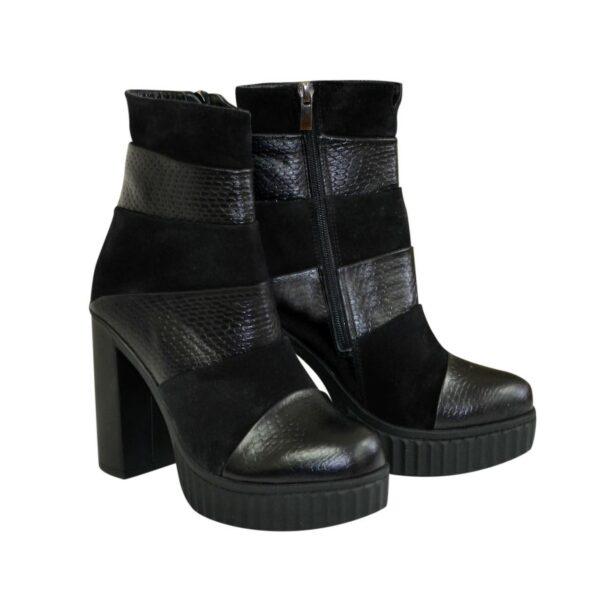 Ботинки зимние комбинированные на высоком устойчивом каблуке
