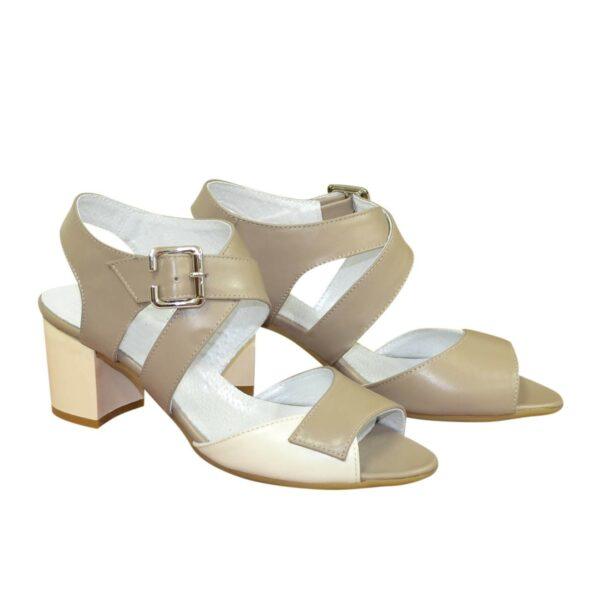 Женские кожаные босоножки на устойчивом каблуке, цвет визон/бежевый