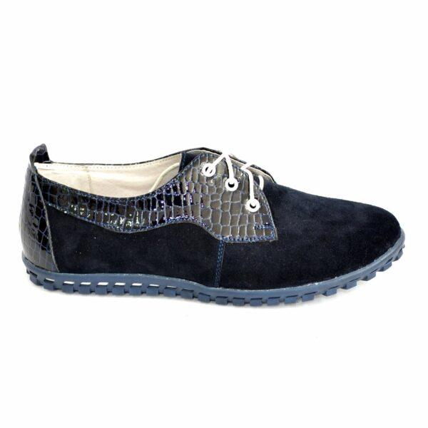 Женские синие туфли на шнуровке, натуральный замш и лак рептилия