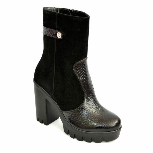 Женские кожаные зимние ботинки на каблуке из натуральной кожи питон и замши