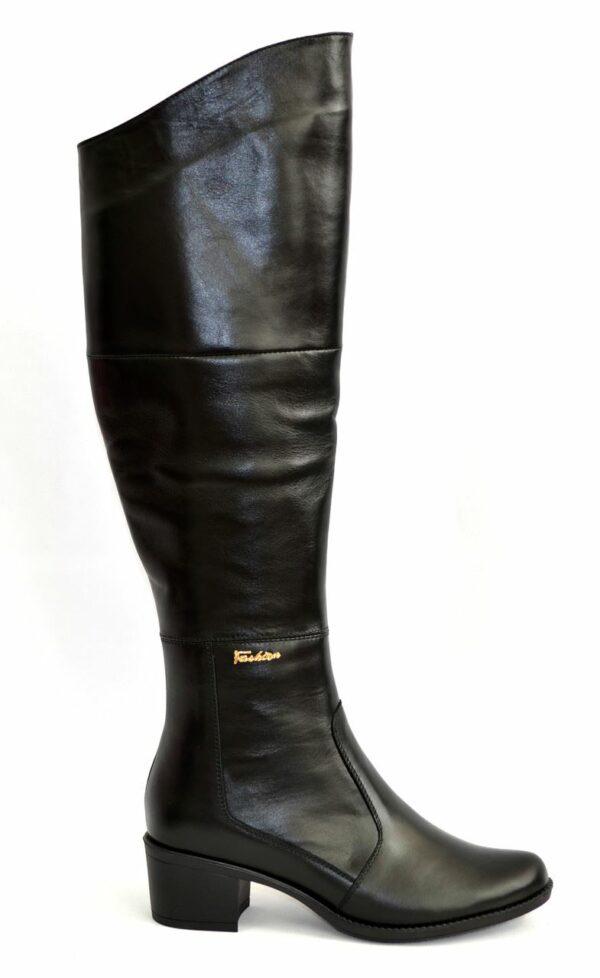 Женские зимние кожаные высокие ботфорты на устойчивом каблуке