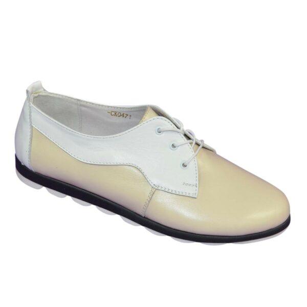 Женские туфли на шнуровке, из натуральной кожи бежевого и белого цветов