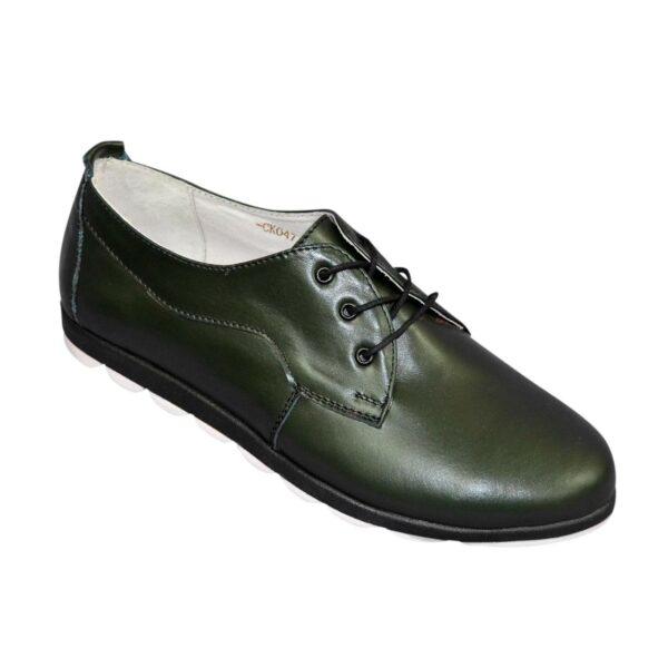 Женские туфли на шнуровке, из натуральной кожи зеленого цвета