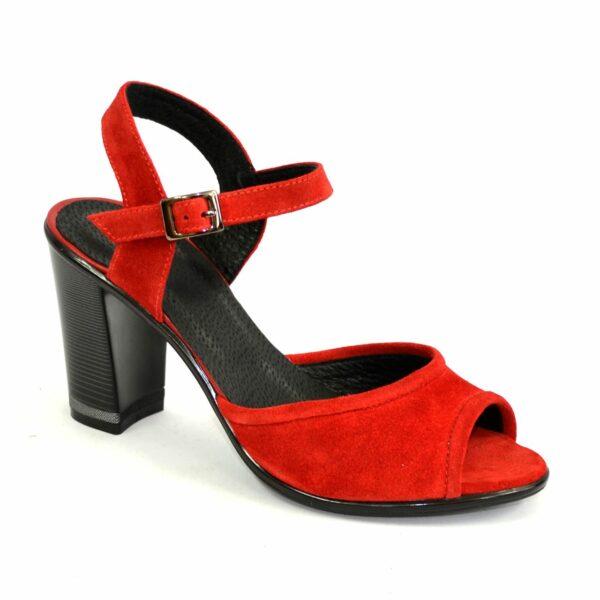 Женские босоножки на высоком каблуке, натуральный замш красного цвета