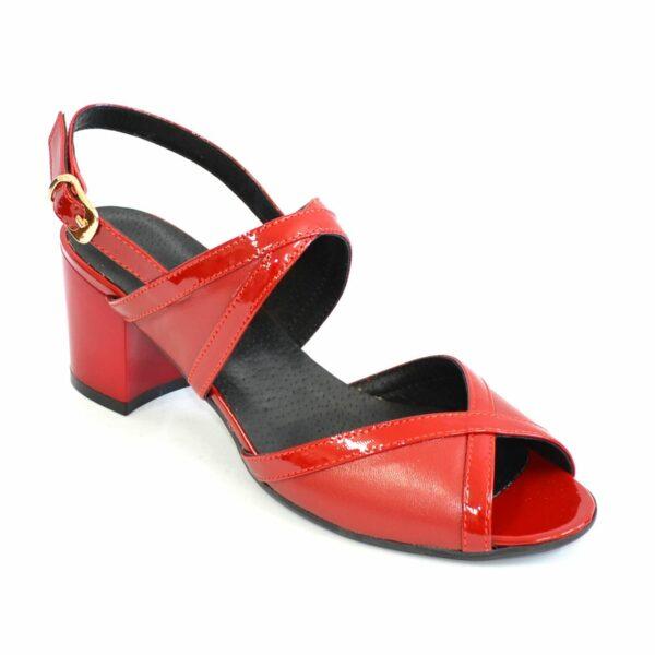 Женские красные босоножки на устойчивом каблуке, натуральная кожа и лаковая кожа