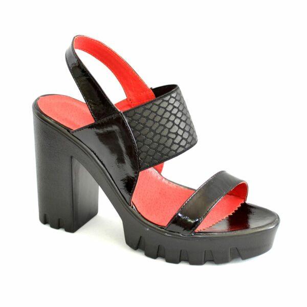 Женские черные лаковые босоножки на высоком устойчивом каблуке