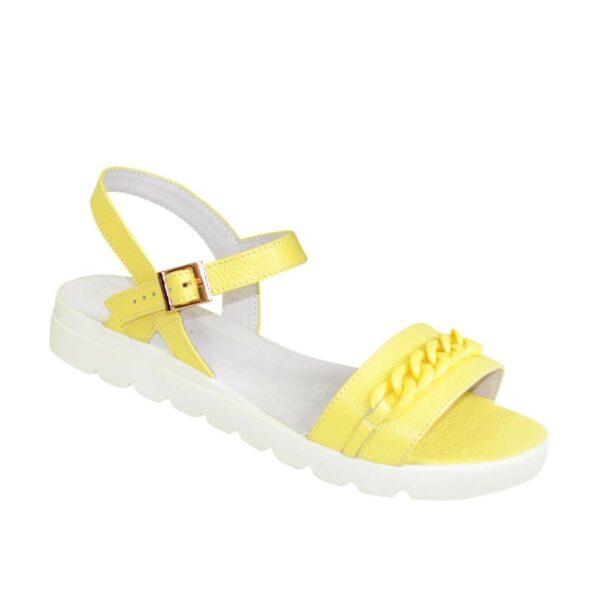 Женские кожаные босоножки на утолщенной подошве, цвет желтый