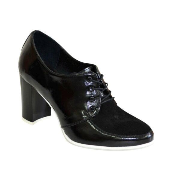 Женские классические черные туфли на высоком каблуке, натуральная кожа и замша