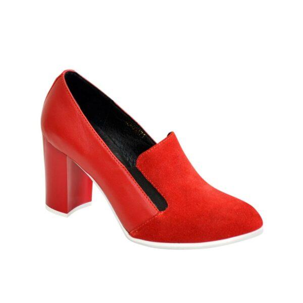 Женские классические красные туфли на высоком каблуке, натуральная замша и кожа