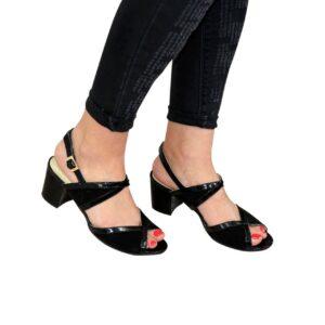 Женские черные босоножки на устойчивом каблуке, натуральная замша и лаковая кожа