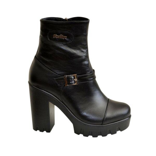 Ботинки кожаные женские зимние на тракторной подошве