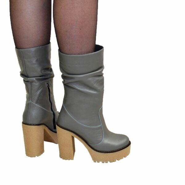 Ботинки кожаные демисезонные на высоком каблуке, цвет серый