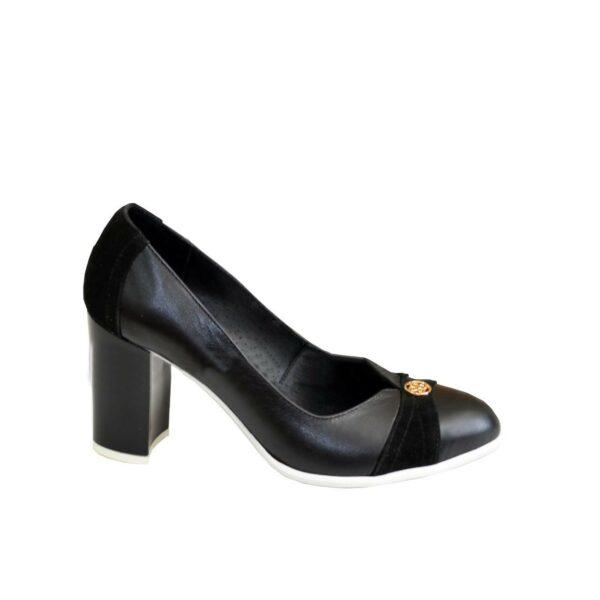 Туфли женские кожаные на высоком устойчивом каблуке, декорированы замшевыми вставками и фурнитурой