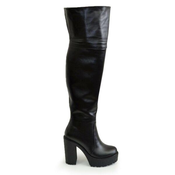Ботфорты демисезонные кожаные на высоком устойчивом каблуке