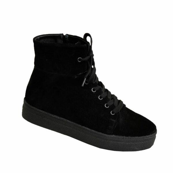 Ботинки демисезонные женские замшевые на утолщенной подошве, черный цвет