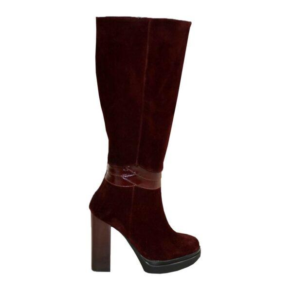 Сапоги женские демисезонные на высоком каблуке, натуральная кожа и замш