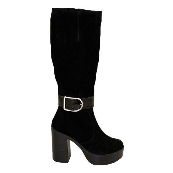 Сапоги женские замшевые черные демисезонные на высоком каблуке, декорированы ремешком