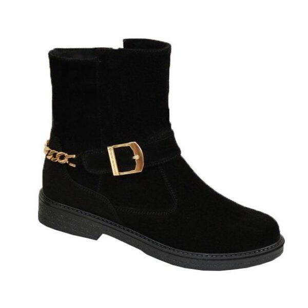 Ботинки замшевые черные женские демисезонные на невысоком каблуке, декорированы цепью и ремешком