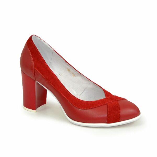 Туфли красные женские классические на каблуке, натуральная кожа и замш