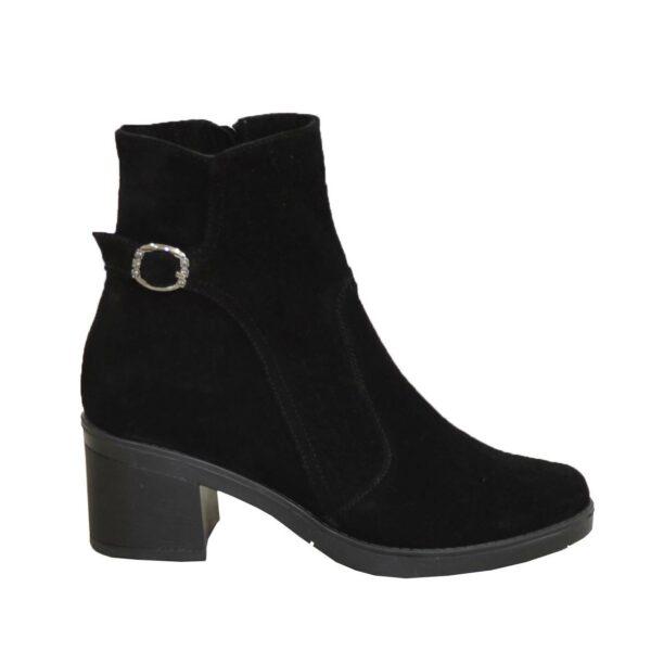 Ботинки черные женские замшевые зимние на устойчивом каблуке