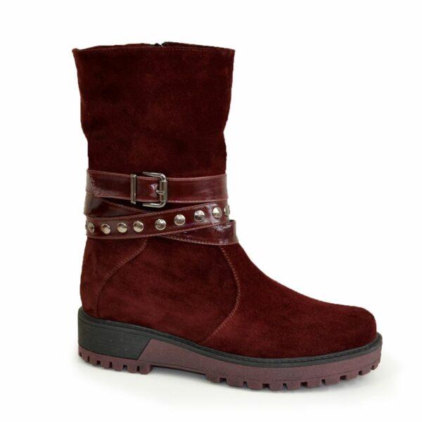 Ботинки бордовые замшевые женские зимние на утолщенной подошве