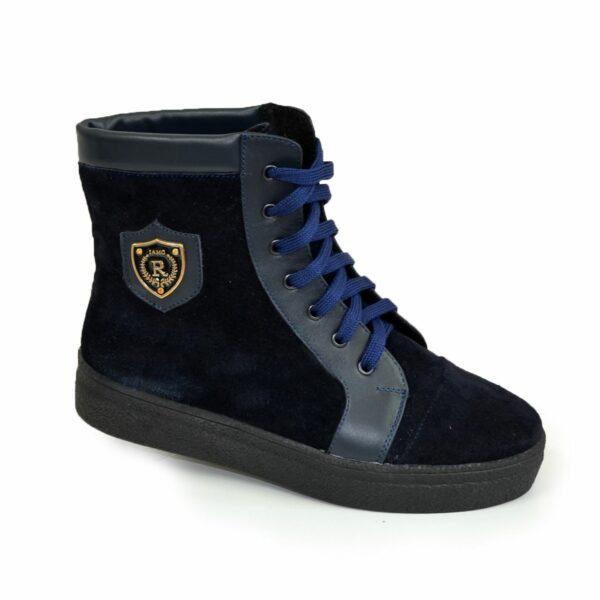Ботинки женские зимние замшевые синие на утолщенной подошве