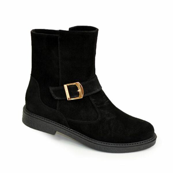 Ботинки замшевые черные женские демисезонные на невысоком каблуке