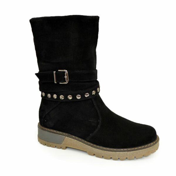 Ботинки замшевые черные женские зимние на утолщенной подошве