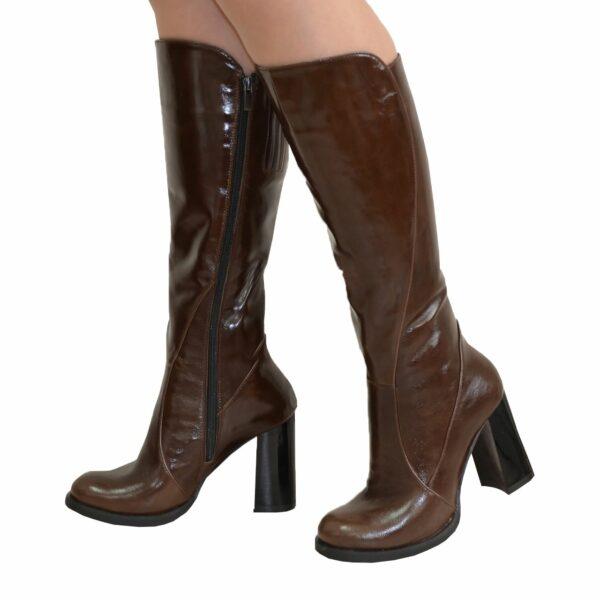 Сапоги женские кожаные зимние на высоком устойчивом каблуке, цвет коричневый