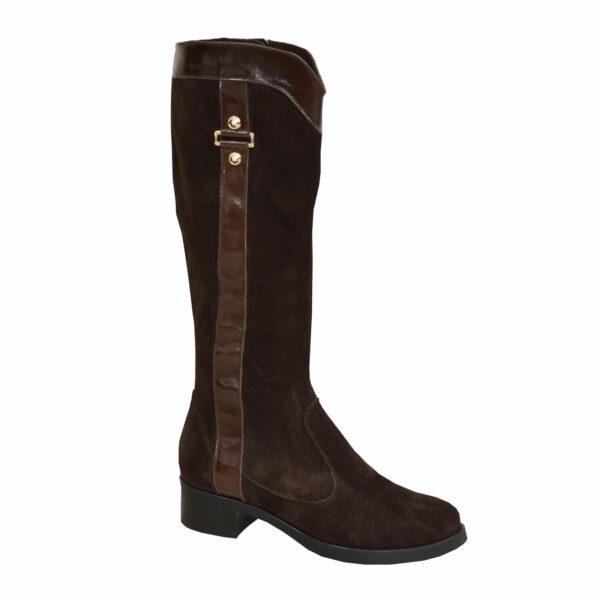 Сапоги зимние коричневые женские на невысоком каблуке, натуральная замша и кожа