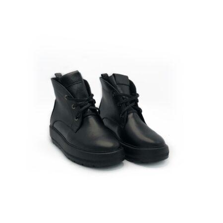 Ботинки женские кожаные на сплошной утолщенной подошве демисезон зима