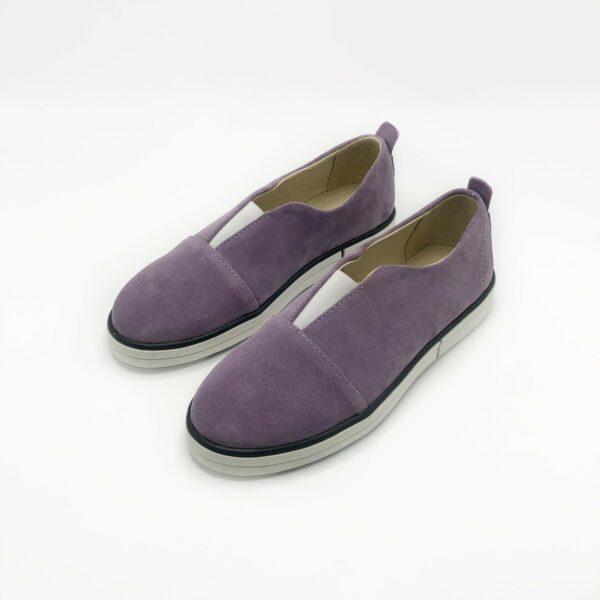 Туфли кеды женские замшевые лавандовые на сплошной утолщенной подошве
