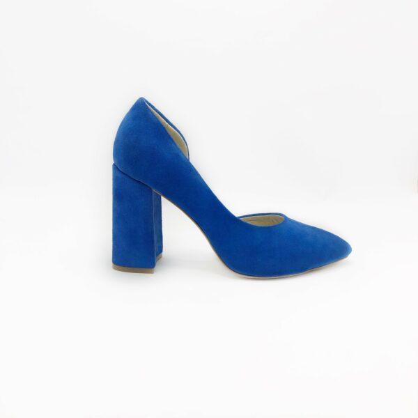 Женские туфли замшевые цвет электрик на высоком устойчивом каблуке