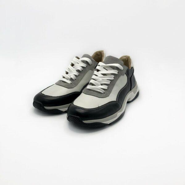 Кроссовки женские кожаные черно белые