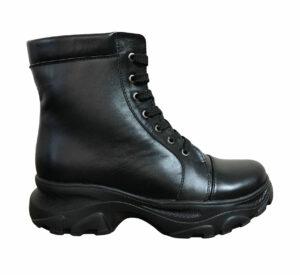 Женские ботинки кожаные черные на шнуровке