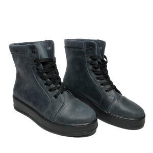 Женские ботинки кожаные синие на сплошной подошве