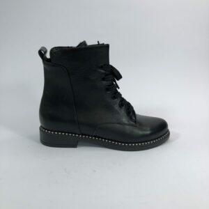 Ботинки женские кожаные черные на низком ходу