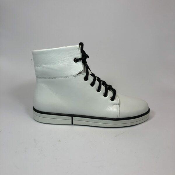 Белые женские кожаные кеды на молнии и шнуровке