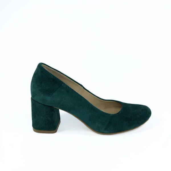 Туфли лодочки замшевые зеленые на устойчивом каблуке