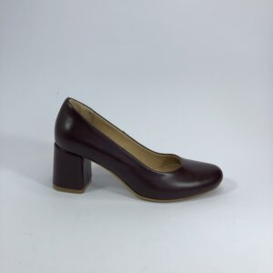Женские туфли кожанные бордовые на устойчивом каблуке