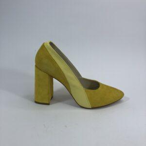 Туфли лодочки женские замшевые желтые на высоком устойчивом каблуке