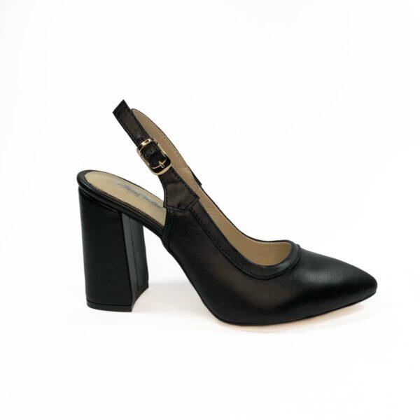 Босоножки женские кожаные черные на высоком устойчивом каблуке