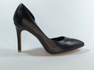 Черные кожаные женские туфли на высокой обтяжной шпильке