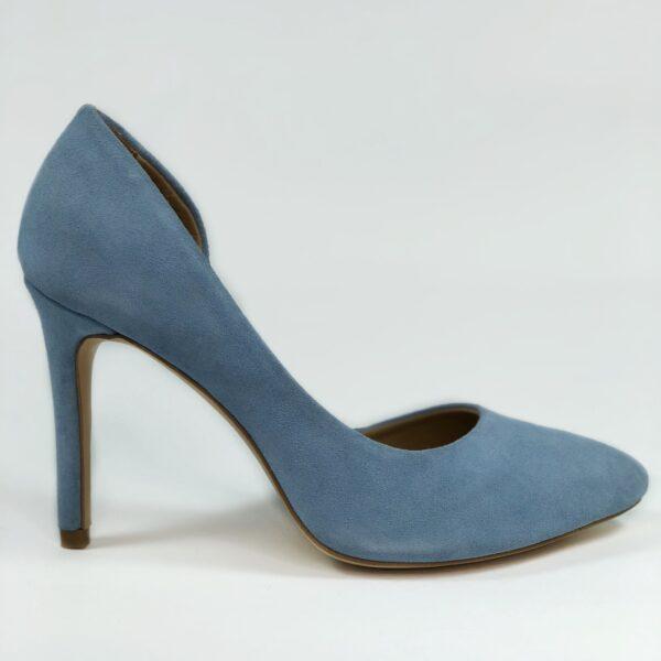 Женские туфли замшевые голубые на высокой обтяжной шпильке