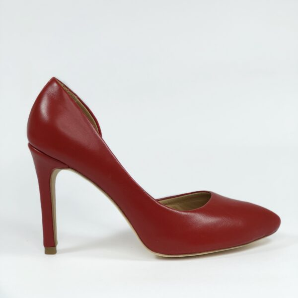 Красные кожаные туфли на высокой обтяжной шпильке