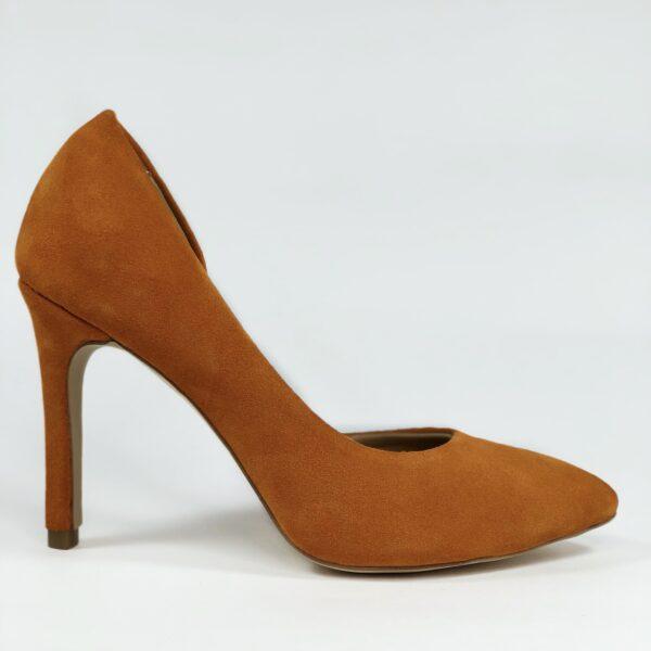 Оранжевые замшевые женские туфли на высокой обтяжной шпильке