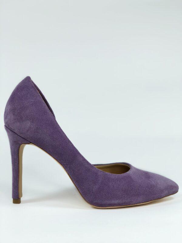 Туфли женские замшевые лаванда на высокой обтяжной шпильке